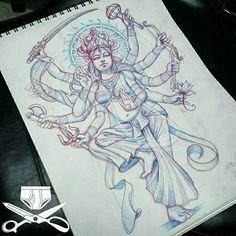 damon butler: My interpretation of the hindu goddess durga. Need to find a good home for her . Shiva Art, Ganesha Art, Hindu Art, Kali Tattoo, Hindu Tattoos, God Tattoos, Durga Painting, Indian Illustration, Goddess Tattoo