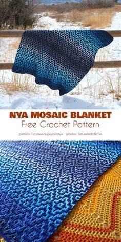 "The Nya ""Infinity "" blanket looks like a tiled mosaic, but is in fact a continuous piece made using a few basic crochet stitches. Because of this, the size is Basic Crochet Stitches, Afghan Crochet Patterns, Crochet Basics, Crochet Shawl, Knit Crochet, Knitting Patterns, Crochet Blankets, Crochet Home, Crochet Crafts"