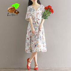 2017 Spring women Chiffon print flowers & butterfly dress women's short sleeve length cute dress one-piece dresses plus size #Affiliate