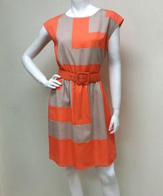 25d2e352de9 Orange   Beige Geometric Belted Cap-Sleeve Dress-- the geometric design  will also