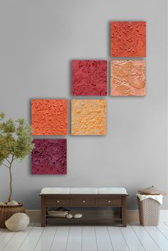 Abstract Painting, 6 square CUSTOM Large Wall Art, Textured abstract painting, -Gold, orange, yellow, Red, poppy red, maroon
