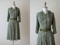 1940s Dress  Vintage 40s Dress  Green Linen Rayon by jumblelaya