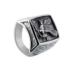Sterling Silver Turquoise Gemstone Southwestern Style Eagle Band Mens Ring to 15