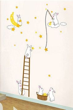 Cute bunny rabbit wall decals and stickers in a neutral yellow pink and white…