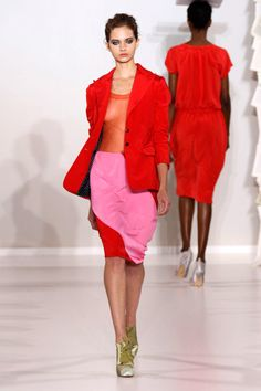 Red Jacket, Pink Red Color blocks Short Dress. Kinder Aggugini Spring Summer ‎2012‎.‎-- Pops of color for the office!  For more office attire ideas visit:  http://www.imagedesignconsulting.com