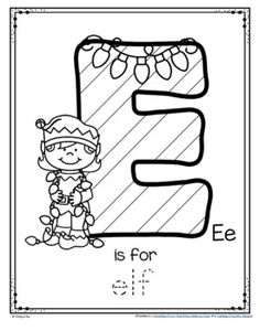 Letter E is for Elf Trace and Color Christmas Printable FREE by KidSparkz