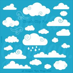 Clouds Clip art Clipart. Vector Clouds Clipart. by Delagrafica, $5.00