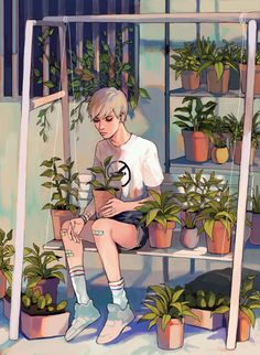 """it's easier to care for plants than people, so i'll grow a garden instead"" Artist tumblr user: kelpls."