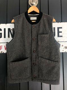 Universal Works UK Large Grey Mowbray Wool Chore Waistcoat Vest P2P 22 inch #universalworks #reclaimedclothing #qualityclothing #waistcoat #mensfashion #slowfashion