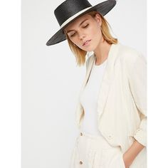 Garden Grove Straw Boater ($58) ❤ liked on Polyvore featuring accessories, hats, straw hat, wide brim straw hat, wide brim hat, free people hats and band hats