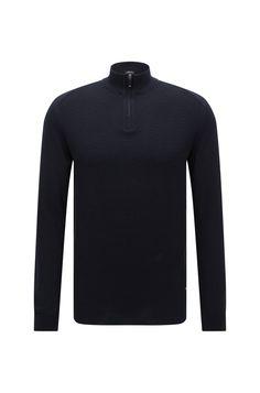Maglione regular fit in cotone con colletto con zip: 'Odino'