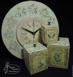 """Купить Комплект для кухни """"Фисташковый шебби"""" - комбинированный, часы настенные, короб для кухни, короб для сыпучих"""
