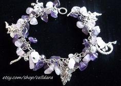 Amethyst & Rose Quartz Faery Charm Bracelet by CellDara on Etsy