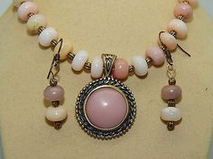 Natural Pink Opal Pendant & beads & hand-made Antique Brass Necklace Set
