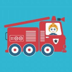 Wallspice Art :: Kids Big Red Fire Engine Illustration
