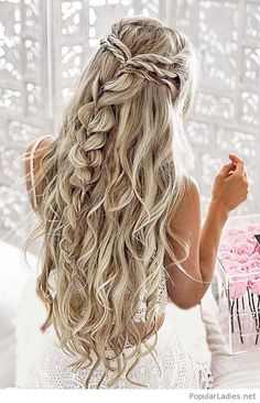 Messy long blonde braids