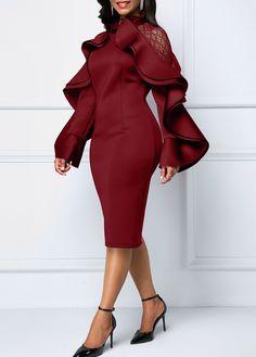 Lace Panel Ruffle Trim Wine Red Sheath Dress | Rotita.com - USD $33.46