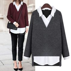 Simply Elegant Classic Casual or Career 2-in-1 Long Sleeve Top 2 Colors PLUS SIZE XL-5XL