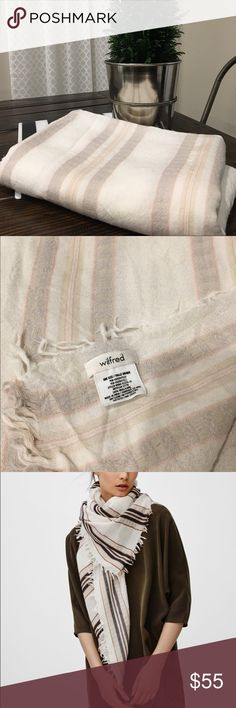 """Aritzia Mixed Stripes Blanket Scarf Made of Australian wool, hand finished fringed edges. 51"""" wide X 63"""" long. EUC. No rips or stains. Aritzia Accessories Scarves & Wraps"""