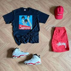 "TMC on Instagram: ""What y'all rocking #outfitgrid @outfitgrid ▪️#SupremeCap ▪️#SupremeTee ▪️#NikeStussyShorts ▪️#Jordan6VarsityRed"""