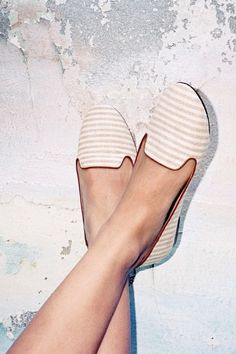 White & Beige Striped Loafers