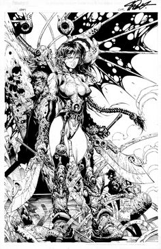 Platt Stephen - Vampi #12 Variant Cover - Original Art, in Drawing Lines Art Gallery's AAA - Art Available FS/Trade Comic Art Gallery Room - 995735