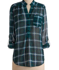Fun 2 Fun Tartan Short Collar Button Down Top