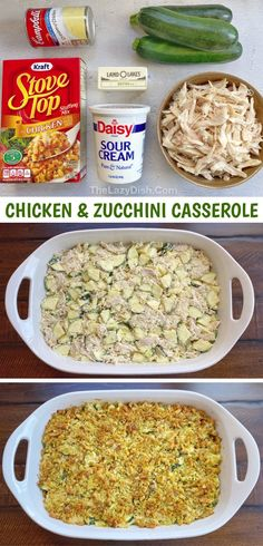 Chicken Zucchini Casserole, Veggie Casserole, Easy Casserole Dishes, Casserole Recipes, Cake Recipes, Dessert Recipes, Health Dinner, Dinner Healthy, Healthy Family Dinners