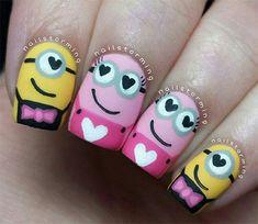 Pink Minion Nails | Cute Pink Minion Nail Art Designs Ideas Trends Stickers 2015 2 Cute ...