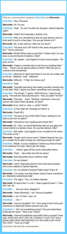 A conversation between Marinette and Chat Noir I had XD
