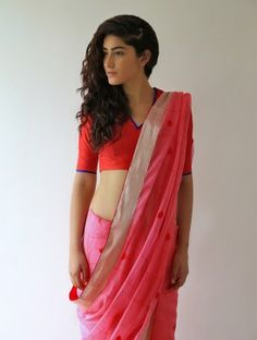89634ba5f52e4 Rose Pink Gharchola Chanderi   Zari Saree By Raw Mango Online Saree Purchase