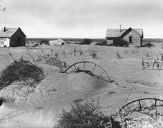 Here, shown in this picture is the aftermath of 'The Dust Bowl'. 'The Dust Bowl' was recurring dust storms that happened throughout the 1930s. The severe drought ended up causing extreme devastation to both Canada and the U.S.A. prairies.