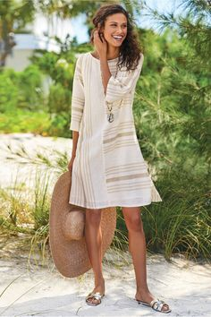 Directional stripes create fresh pattern play on this dress of beachy neutrals that floats over a cotton voile lining. Misses long. Summer Outfits Women Over 40, Spring Outfits, Beach Dresses, Short Dresses, Resort Wear For Women, Beach Vacation Outfits, Striped Dress, Clothes For Women, Breeze