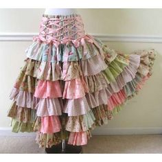 Shabby Floral Corset Ruffled Patchwork Skirt