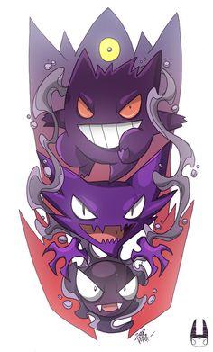 pokemon illustration by zookrupula 2014 Gengar Pokemon, Pikachu Art, Ghost Pokemon, Pokemon Funny, Cute Pokemon, Pokemon Go, Mega Mewtwo, Charizard, Gengar Tattoo