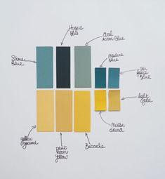 Harmoniser les couleurs - Moodboard jaune et bleu / Yellow and blue moodboard Accent Wall Bedroom, Blue Bedroom, Mustard Bedroom, Wall Color Combination, Stiffkey Blue, Caravan Decor, Caravan Interiors, Storage Rental, Hague Blue