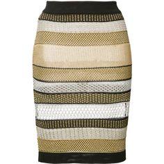 Balmain striped skirt ($1,095) ❤ liked on Polyvore featuring skirts, black, mid length skirts, print skirt, patterned skirts, striped skirt and balmain skirt
