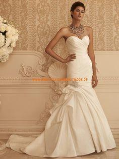 2013 Neue Brautkleider elegant aus Taft Meerjungfrau Herzausschnitt mit Schleppe