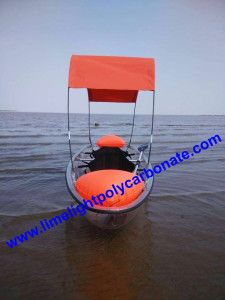 Clear Kayak with Tent Cover, Transparent Kayak with Shade Cover, Clear Kayak with Tent System, Clear Kayak with Awning, Clear Kayak with Canopy Covering System