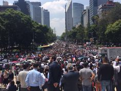 People on the street after the earthquake in Mexico