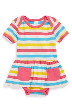 Stem Baby Stripe Organic Cotton Skirted Bodysuit (Baby Girls) | Nordstrom