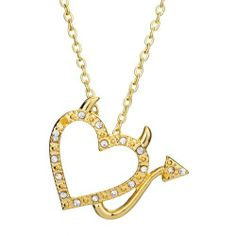 Pugster 18k Gold Plated Devil Heart Cubic Zirconia Pendant Necklace Pugster. $19.99. Color: Golden. Size: 34.08*6.14*30.89. Metal: Metal, Crystal,. Weight: 7.4. Save 75%!