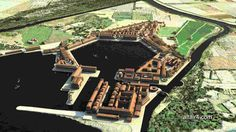 Ostia antica e porto di Traiano - dramatic recreation of the buildings and octagonal design of the ancient port of Rome Italy Roman Architecture, Historical Architecture, Ancient Architecture, Ancient Rome, Ancient Greek, Ancient History, Ancient Ruins, Harbor City, Roman History