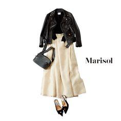 ライダースを女っぽく着るなら柄マキシ!ベージュのトーンでまとめて【2018/3/2コーデ】|Marisol ONLINE|女っぷり上々!40代をもっとキレイに。 Fashion D, Japan Fashion, Minimal Fashion, Skirt Fashion, Korean Fashion, Spring Fashion, Winter Fashion, Womens Fashion, Looks Style