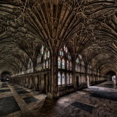 ~Gloucester Cathedral Cloister~ The cloister of Gloucester Cathedral, England, where parts of the famous Harry Potter movies were filmed.