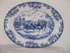 "Vintage Johnson Bros Blue Coaching Scenes 14"" Platter"