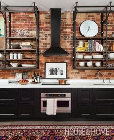 A blend of practical and personal lends this kitchen a cool vibe. Photographer: Donna Griffith Designer: Paul Rowan and Marcee Ruby Kitchen Inspirations, Brick Kitchen, Kitchen Remodel, Kitchen Decor, Interior Design Kitchen, Industrial Kitchen Design, Loft Kitchen, Industrial Bathroom Decor, Home Kitchens