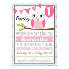 Girls Owl 1st Birthday Invitation - budget friendly girls first birthday party invitations, fully customizable see them all at www.tropicalpapers.com #girlsfirstbirthdaypartyinvitations