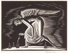 Find artworks by Rockwell Kent (American, 1882 - on MutualArt and find more works from galleries, museums and auction houses worldwide. Vintage Illustration Art, Illustrations, Art Deco Cards, Rockwell Kent, I Believe In Angels, Scratchboard, Paris Art, Angel Art, Wood Engraving