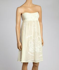 Yellow & White Cancun Embroidered Strapless Dress #zulily #zulilyfinds